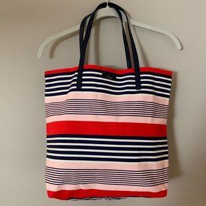 NWOT Kate Spade Pink & Navy Striped Bon Shopper